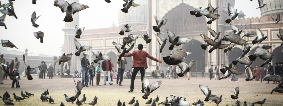 Man scatters pigeons with arms outstretched outside of a mosque on a foggy day