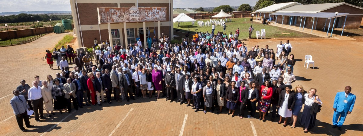 Group photo of staff and guests of the UNC Project Malawi