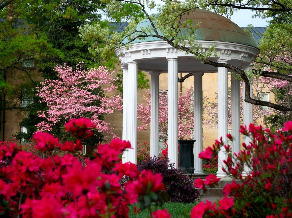 The Old Well in spring with pink and red flowers