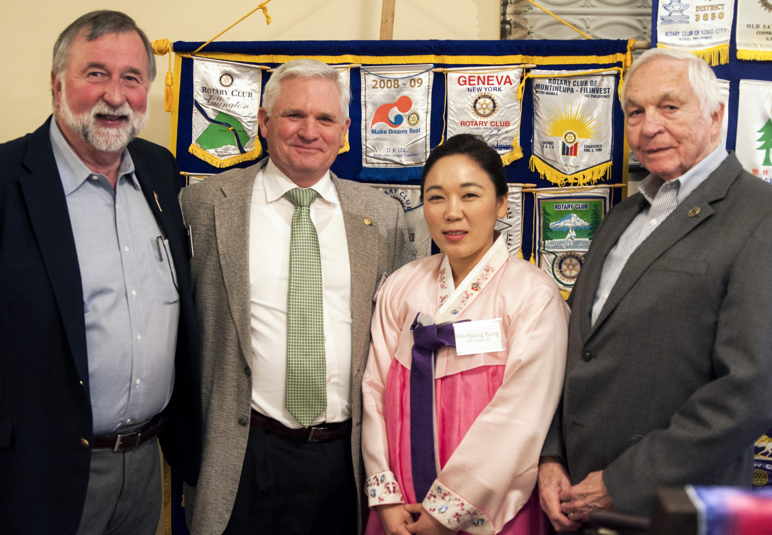 Left to right: Serge Dihoff, former board member and community liaison for the Duke-UNC Rotary Peace Center; Linwood Stanley Morton, director of the Roxboro Rotary Club; Hai-Ryung Sung, UNC doctoral student; Don Buckner; chair of the Rotary Foundation for the Roxboro Rotary Club. Photo by Shannon Harvey.