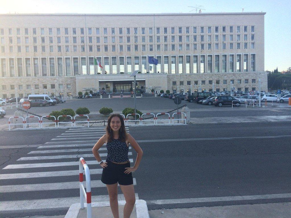 Head shot of Emily Venturi '18 outside in front of EU building