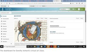digital art history class dashboard capture with medieval artwork