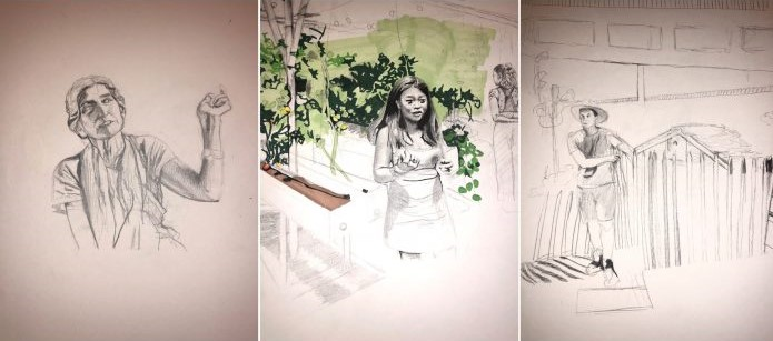 Three sketches by Savannah Faircloth, from left, older woman, young woman in garden, and man wearing hat outside.