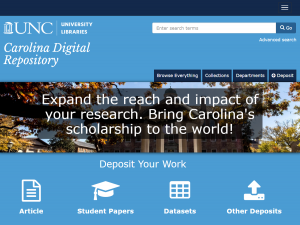 Carolina Digital Repository homepage with icons to search and submit work