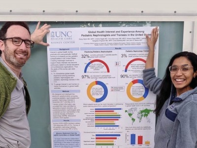 Dorey Glenn, left, and Anisha Hegde, right, presented a global health survey at the 2019 IPNA Meeting.