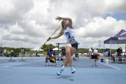 Wiltrout throwing the javelin