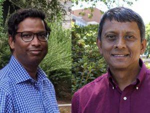 Headshots of Prem Lakshmanane and Aravinda de Silva outdoors.