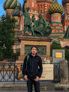 Sean Norton stands in from of St. Basil's Cathedral in Moscow