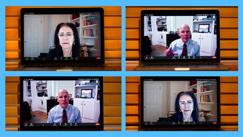 Executive Vice Chancellor and Provost Robert A. Blouin and Assistant Provost for Institutional Research and Assessment Lynn Williford participating in a video call.