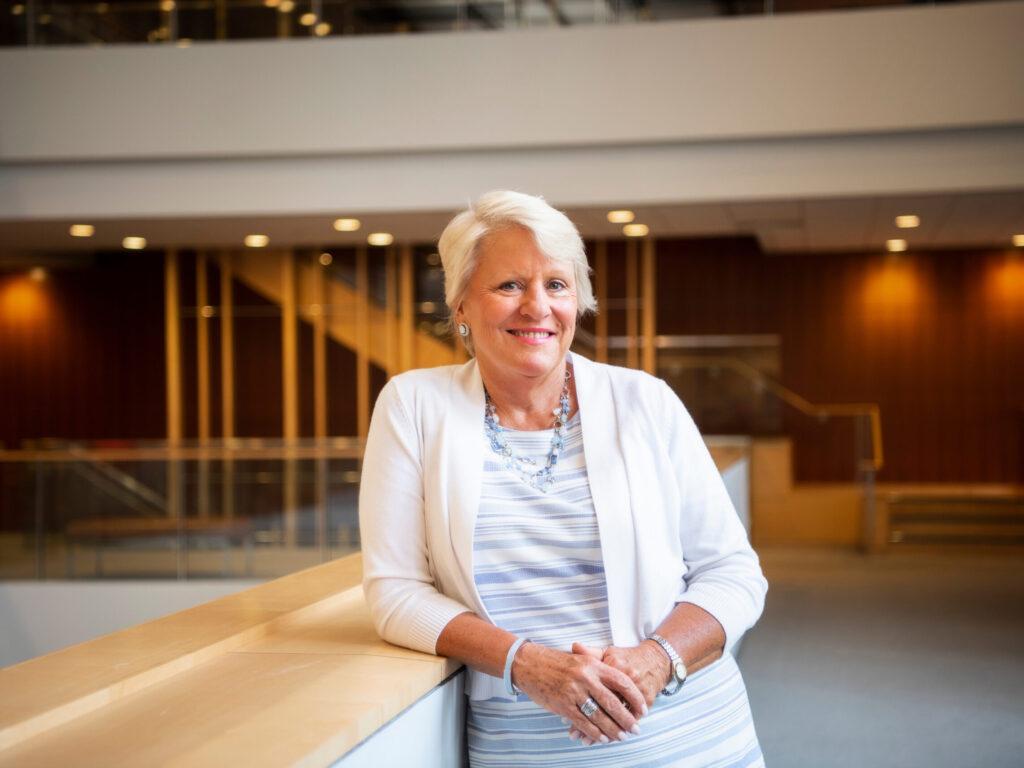 Barbara Stephenson inside the FedEx Global Education Center.