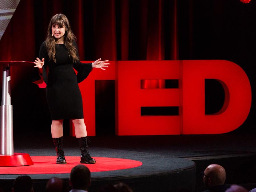 Female speaking on stage