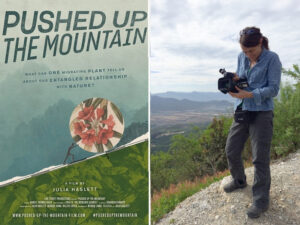 Film poster with mountain sketch and Julia Haslett holding videocamera.