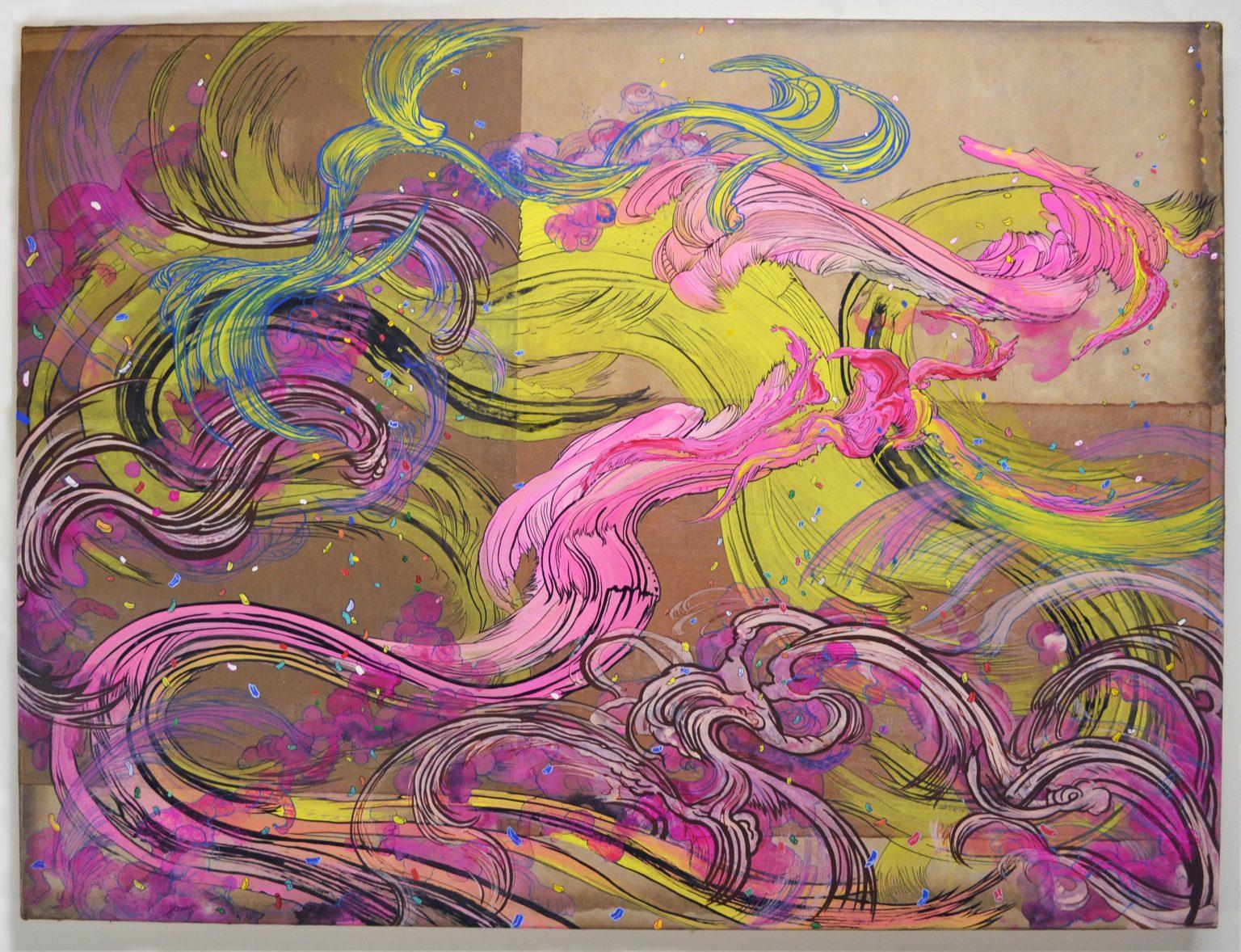 Fluid, organic swirls of bubblegum pink and yellow